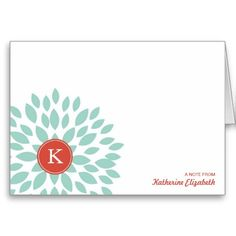 Teal Blooming Blossom with Monogram Greeting Card - Personalized Folded Note Card