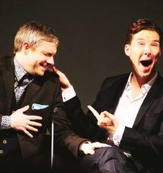 The boys at the Sherlock series having fun...