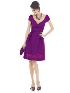 Elegant Satin Material Short Sleeves Knee Length Party Dress with Sexy V-neckline Empire Waist