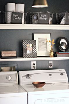 Laundry Room makeover on a budget. Cobalt blue with black & white and metallic accents