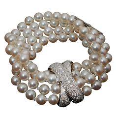 Pearl and Diamond Bracelet