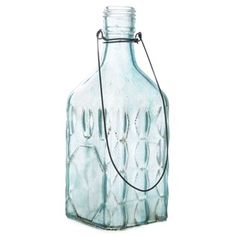 """The secret behind a message in a bottle can be all yours with this Turquoise Hanging Open Base Bottle! This simple vintage-inspired frosted turquoise glass bottle features an open mouth and an open bottom. Easy to fill with the decorations of your choice, this bottle is a no-brainer! Just adorn it with the embellishments of your choice for a completely custom look.        Dimensions:      Length: 3 7/8""""    Width: 2 7/8""""    Height: 7 3/4""""         ..."""