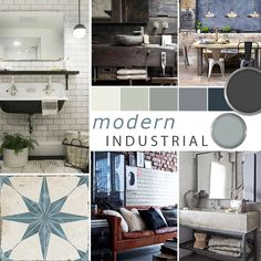 Need some inspiration for your modern industrial project? Take a look at our modern industrial mood board exploring key elements of this popular style. Interior Design Classes, Interior Design Boards, Office Interior Design, Interior Styling, Interior Decorating, Modern Industrial Decor, Industrial Interior Design, Style At Home, Mid Century Interior Design