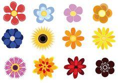 Cute Flower Vector Pack for Adobe Illustrator Flowers Dp, Folk Art Flowers, Hand Drawn Flowers, Flower Art, Drawing Flowers, Paper Flowers, Free Flower Clipart, Flower Vector Art, Vector Flowers