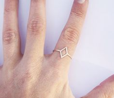 Diamond Shaped Silver Knuckle Ring - $45