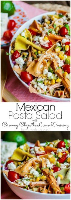 Mutli-colored pasta and bold southwest flavors make this easy Mexican Pasta Salad a delicious summer side dish for summer BBQs and picnics. Mexican Pasta, Mexican Dishes, Mexican Food Recipes, Best Pasta Salad, Pasta Salad Recipes, Noodle Recipes, Mexican Appetizers, Appetizer Recipes, Appetizer Party