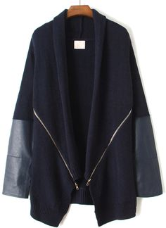Navy Long Sleeve Zipper Sweater Coat US$38.69