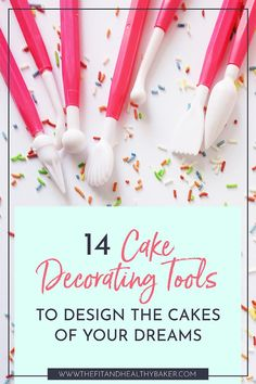 Full of cake decorating ideas? Want to decorate a cake but wonder what tools you need? Click through for 14 Cake Decorating Tools to Design the Cakes of Your Dreams. Cake Decorating Books, Cupcake Decorating Tips, Cake Decorating Designs, Cake Decorating For Beginners, Cake Decorating Supplies, Cake Decorating Techniques, Decorating Tools, Cookie Decorating, Cupcake Cake Designs