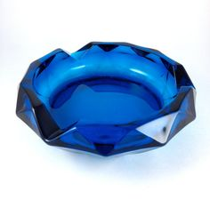 R E T R O Mid Century Faceted Glass Ashtray Mad by CrazyBoutVintage, SOLD!