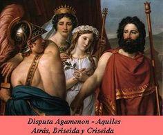 Disputa entre Agamenón y Aquiles por la esclava Briseida.