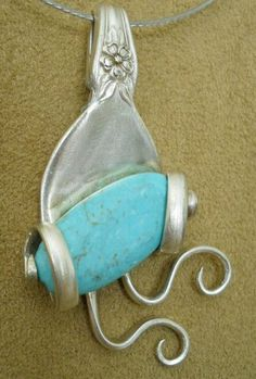 Twisted Tines w Turquoise Pendant * Silverplate Fork Jewelry * DIY How-To * Photo Inspiration * Silverplate Silverware  *  Handmade Fork, Knife and Spoon Crafts