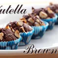 Nutella Brownies | Three Ingredients--2 eggs, 10 TBL flour, 1 cup Nutella...mix, bake 350^F for 30 min in a pan..shorter time for cupcake form (top with hazelnuts before baking if you want)