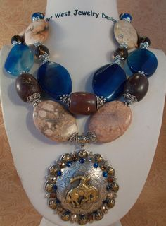Cowgirl Necklace Set  Chunky Tan Howlite by Outwestjewelry on Etsy