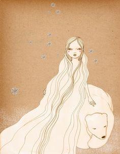 Polar Bear Girl Deluxe Edition Print of original drawing. $20.00, via Etsy.