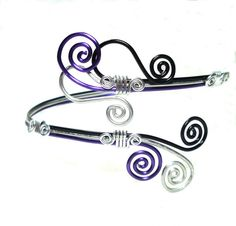Arm Band Cuff Black Purple and Silver by thecuriouscupcake on Etsy