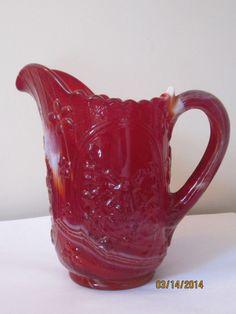 VINTAGE IMPERIAL RED SLAG GLASS WINDMILL DESIGN MILK PITCHER