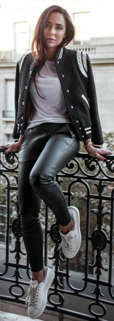 Letterman jackets + an absolute classic + white tee + leather leggings + super sporty chick vibes + Via Johanna Olsson.  Shoes: Alex+er Mcqueen + Trousers: Own Collection + Jacket: Saint Laurent + Tee: Vince.