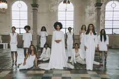 Solange Knowles commissioned photographer Rog Walker to take the official wedding portraits, and the stunning all-female family tableau which includes sister Beyoncé, mother Tina Knowles, Janelle Monáe, Melina Metsoukas, in a nod to the work of contemporary Italian artist Vanessa Beecroft. | Photographed by Rog Walker