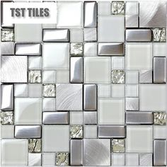 Wholesale11SF glass silver metal backsplash tile kitchen bath mosaics wall tiles #TSTMOSAICTILE