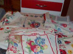 lot 6 cherries fruit towels cloth runner shabby