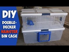 This is my homemade double decker cage for my Syrian hamster. She was too big for her cage so I made her this double decker cage from 2 plastic storage bins. Syrian Hamster Cages, Hamster Bin Cage, Robo Hamster, Hamster Life, Hamster Habitat, Hamster Toys, Hamster Stuff, Pet Mice, Pet Rats