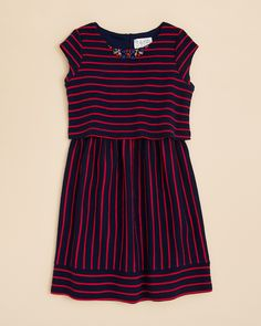 US Angels Girls' Stripe Popover Dress - Sizes 7-16 | Bloomingdale's