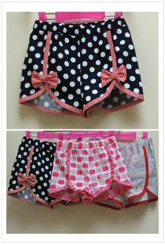 Girls shorts sewing pattern. These adorable shorts come in a wide size range and are fast and easy to sew. They can be made with a variety of edge trims; simply use ready made bias binding