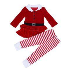 95b77ac9e931 Baby Christmas Dresses Sets 2pcs Baby Girls Boutique Xmas Outfits Dress +  Stripe Pants for Children Girls Kids Clothes Set