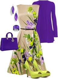 The green is a bit vivid. I think the outfit would look better with a white base on the dress, purple shoes, and a green jacket. Classy Outfits, Chic Outfits, Beautiful Outfits, Spring Outfits, Dress Outfits, Fashion Dresses, Outfit Summer, Little Dresses, Cute Dresses