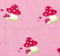 Sweet Toadstools in pink - Tante Ema Design fabric