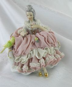 Vintage Collectors Dresden Lace Porcelain Figurine Lady with Bird | eBay