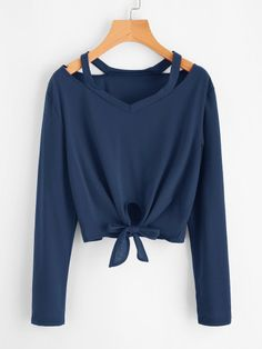 Shop Cut Out Neck Knot Front Tee online. SHEIN offers Cut Out Neck Knot Front Tee & more to fit your fashionable needs. Girls Fashion Clothes, Teen Fashion Outfits, Trendy Fashion, Girl Fashion, Fast Fashion, Fashion Black, Fashion Fashion, Fashion Ideas, Vintage Fashion