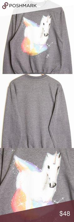 Unicorn Gym Sweater DESCRIPTION Content + Care - 80% Cotton, 20% Polyester - Machine wash  Size + Fit - Size small: Chest: 20 Length: 27 - Size medium: Chest: 21 Length: 28 - Size large: Chest: 22 Length: 29 - Size large: Chest: 23 Length: 31  item is oversized hausofgiovanni.com Sweaters Crew & Scoop Necks
