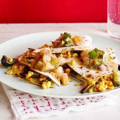 Corn & Poblano Quesadillas with Warm Salsa Verde