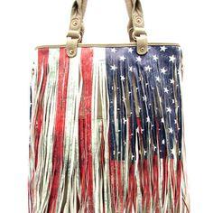 ... flag USA fringe purse handbag Women's fashion red white and blue purse