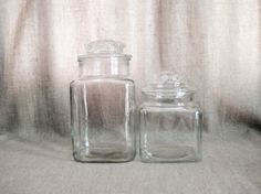 Vintage Pair of Square Glass Canisters / Glass by dewdropdaisies