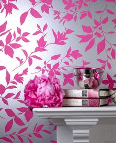 A gorgeous shimmery pink wallpaper for my future craft closet.  Decisions, decisions....