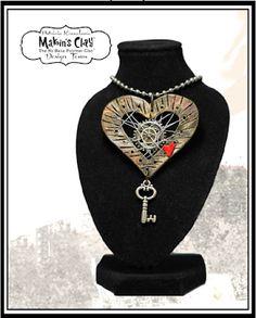 Makin's Clay® Blog: Open Heart Steampunk Pendant by Patricia Krauchune
