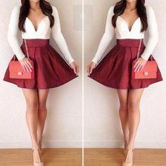 Patchwork Splicing Color V-Neck Long Sleeve Mini Dress