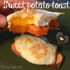 Tip of the Day  Substitute 1/4 inch slices of sweet potatofor bread to make toast!  =  This actually works!!   I toasted my slices for 3 rounds then topped with eggs. You can add whatever toppings you like just make sure your slices are 1/4 inch thick. Cook time may vary depending on your toaster settings... but give this one a go! It's really good!  I'm SO looking forward to trying this with almond butter cinnamon and banana slices!