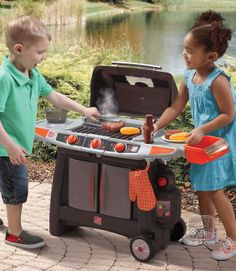 "The Home Depot® Sizzle & Smoke Barbeque Grill features water vapor for cool ""smoke"" effect! Kids Play Kitchen, Toy Kitchen, Toddler Toys, Kids Toys, Nerf Toys, Toddler Christmas, Outdoor Toys, Kids Corner, Toys For Girls"