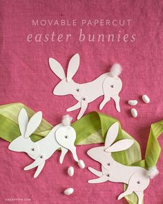 Learn how to make a cute paper bunny with movable legs and a movable head. Craft them as a paper toy or use them as place settings for Easter brunch. Paper Bunny, Felt Bunny, Bunny Crafts, Easter Crafts, Easter Ideas, Bunny Templates, Easter Garland, Flower Video, Diy Easter Decorations
