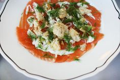 Chef Jamie from La Sirena in NYC also sent out the smoked salmon carpaccio with caper aioli and rye crumble. It was a delightful bite of savory.