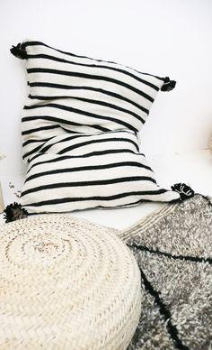 Image of Giant Wool Floor Cushion - Black Pompoms - Black Stripes