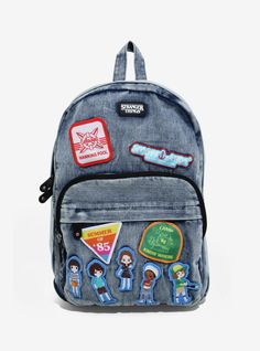 Loungefly Stranger Things Patch Denim Backpack - BoxLunch Exclusive - New Ideas Stranger Things Patches, Stranger Things Kids, Stranger Things Netflix, Denim Backpack, Jansport Backpack, Millie Bobby Brown, Disney Pixar Up, Babe, Wonder Woman