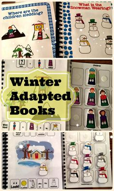 "The Winter Adapted Book Series is here! This includes ""What is the Snowman Wearing?"", ""Where are the Children Sledding?"", and ""I Spy Arctic Animals"" to help target tons of different language skills & concepts, with additional color vocab terms, animal identification, where questions, & pronoun work to round it out! From theautismhelper.com"
