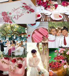 Wedding inspiration with the theme of summer abundance and the colour red