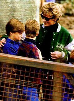 April 17, 1994: Princess Diana with Princes William & Prince Harry at Alton Towers Theme Park, Staffordshire, West Midlands.