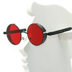 fbabbc7195a6 Steampunk Round Metal Sun glasses for Men Women Fashion Brand Designer  Retro Vintage Sunglasses high quality