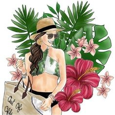 ♥ Pop Art Women, Black Women Art, Travel Illustration, Watercolor Illustration, Outline Drawings, Art Drawings, Arte Fashion, Best Friend Drawings, Flowery Wallpaper